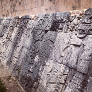 Carvings in The Great Ball Court at Chichen Itza
